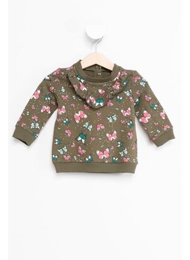 DeFacto Kız Bebek Fırfırlı Kelebek Desenli Sweatshirt Yeşil